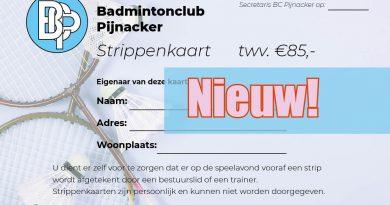 Geen lid? Maar wel bij ons badmintonnen met de strippenkaart!