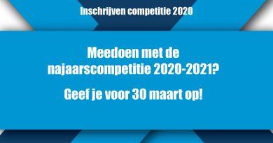 Inschrijven najaarscompetitie 2020